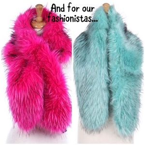 Hot Pink Or Mint Faux Fur Shawl Scarves,NWT